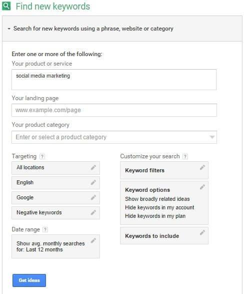 get ideas keyword planner