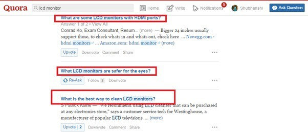 quora directly for keyword research