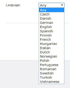 language filter in project configuration