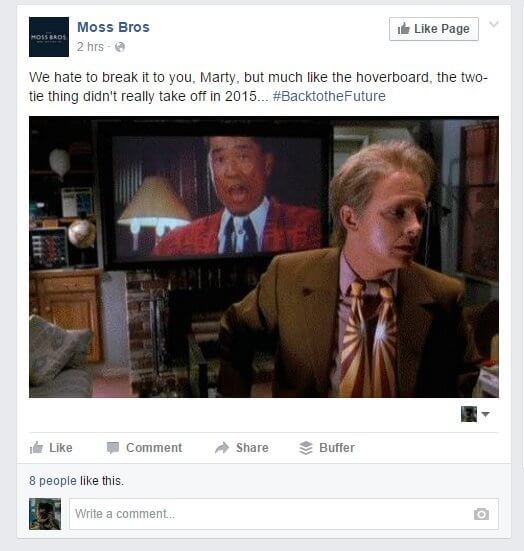 Moss bross back to the future real time marketing