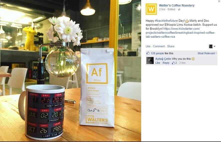 Walter's Coffee Roastery back to the future real time marketing
