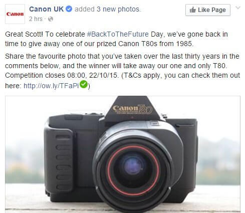 canon back to the future camera real time marketing