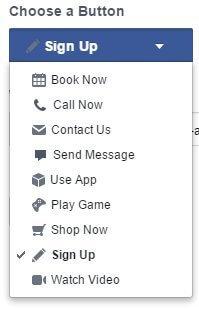 choose a button cta facebook