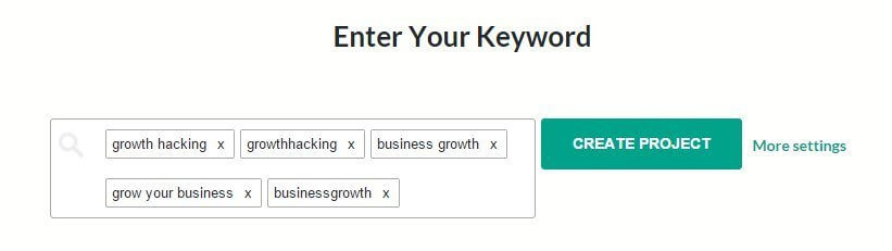 enter your keyword growth hacking brand24