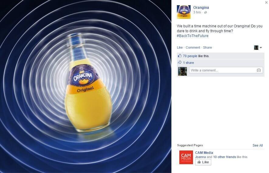 orangina back to the fututre real time marketing