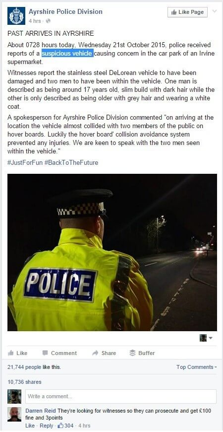 police back to the future real time marekting