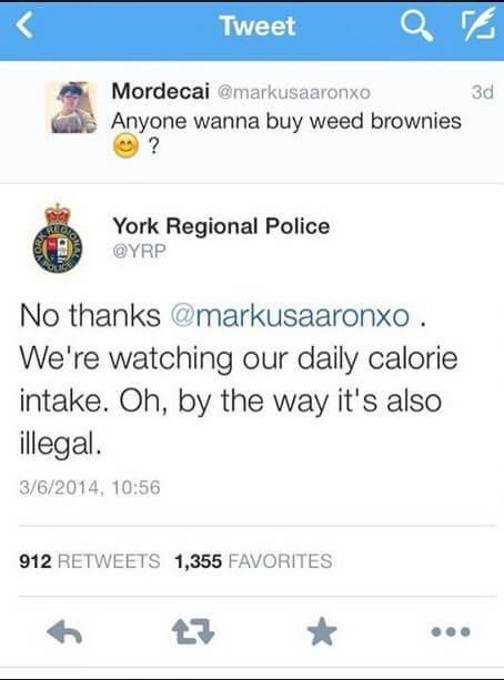 smart york regional police response to tweet about weed brownies