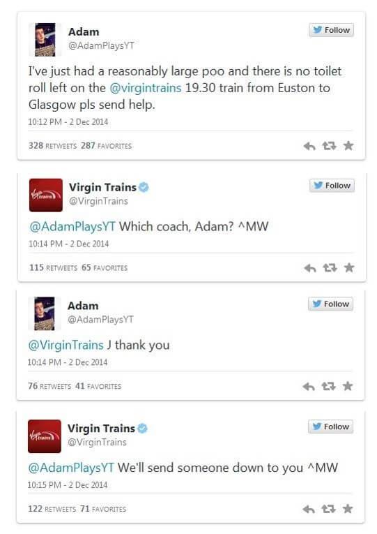 virgin trains customer service social listening
