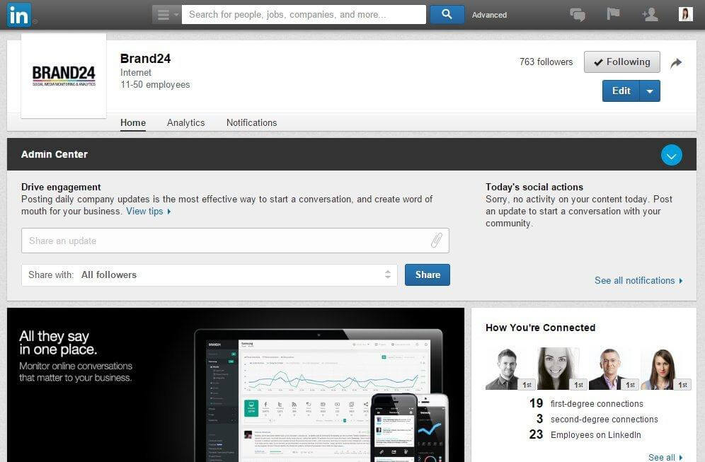 Linkedin brand24 page