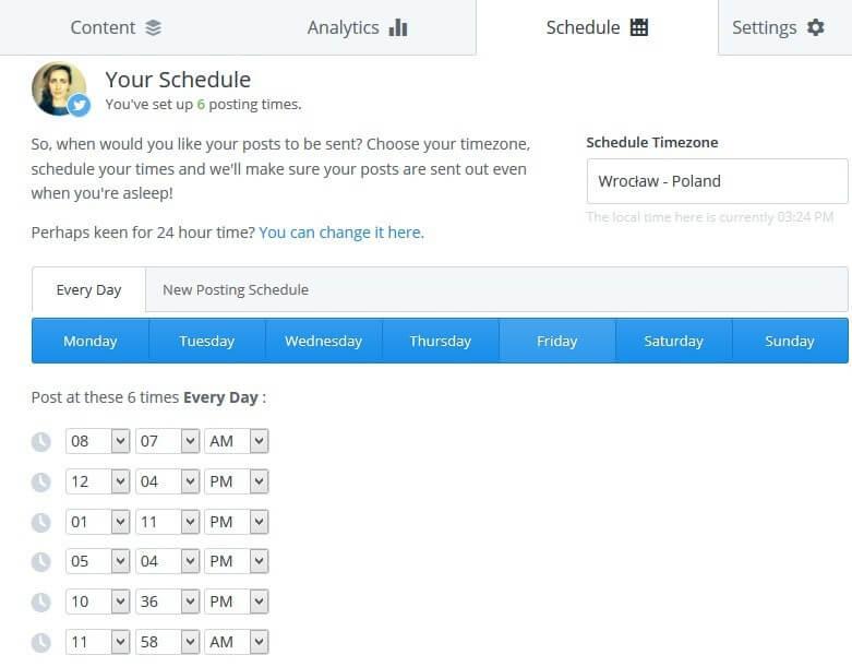 Tweets Schedule: Buffer