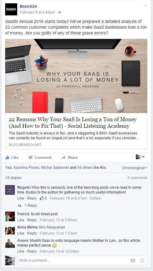 facebook saas