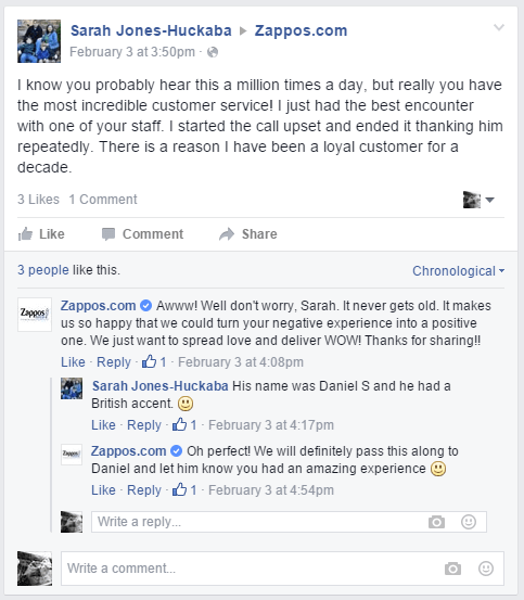 An example of great customer care via Zappos.com