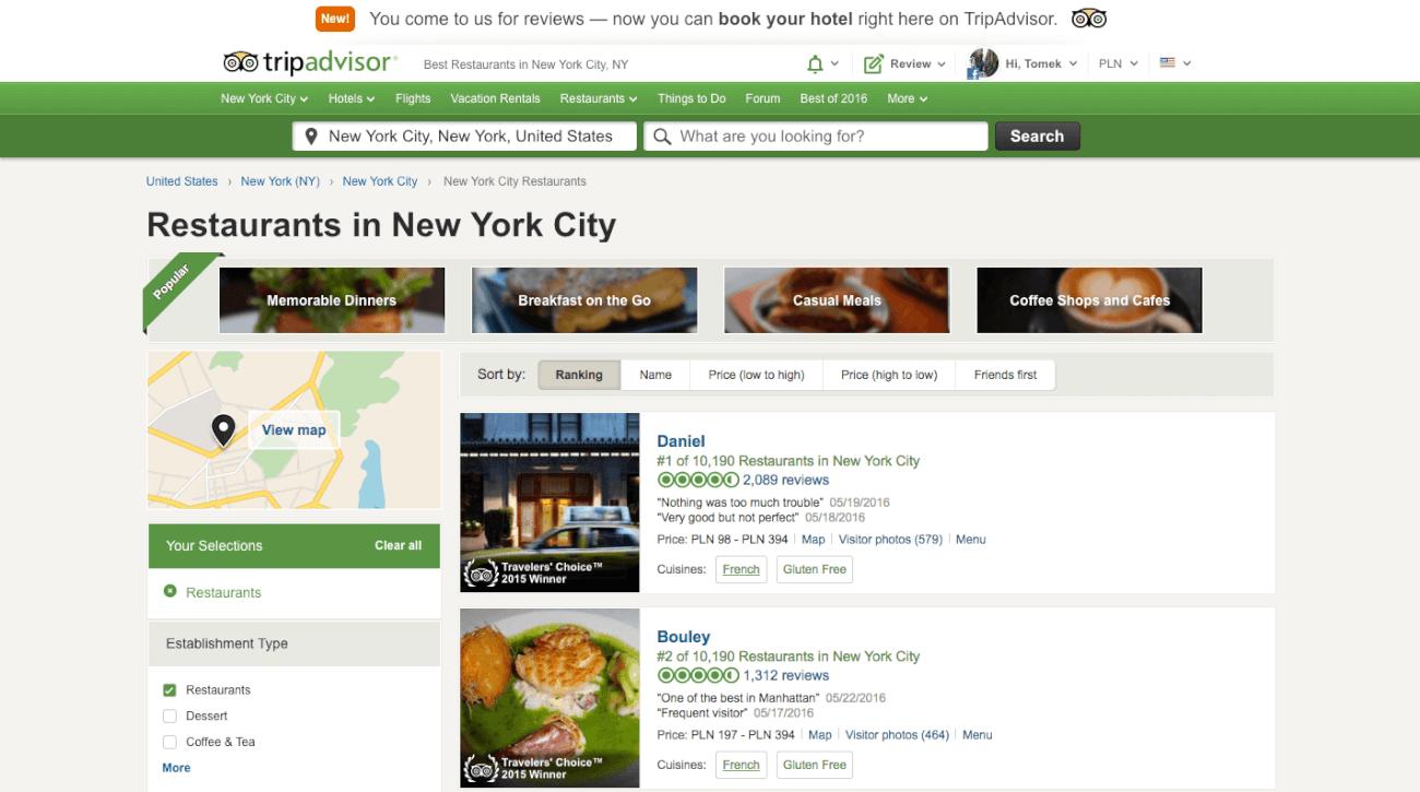 trip advisor online reviews