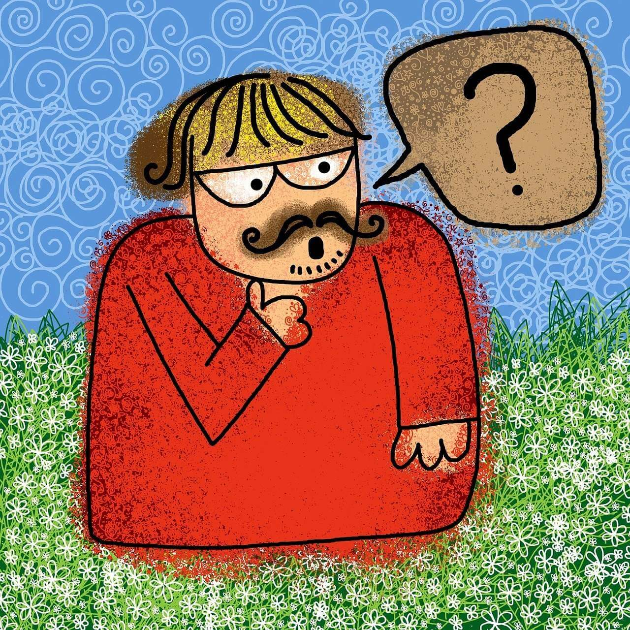 Comic-styled man with a question mark