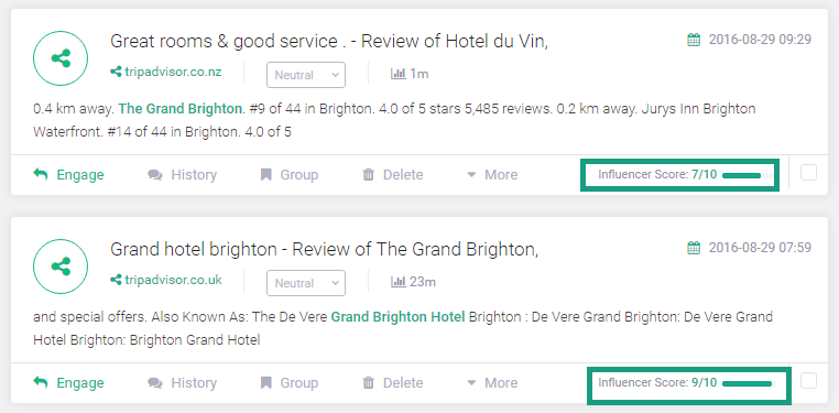 grand brighton influencer score