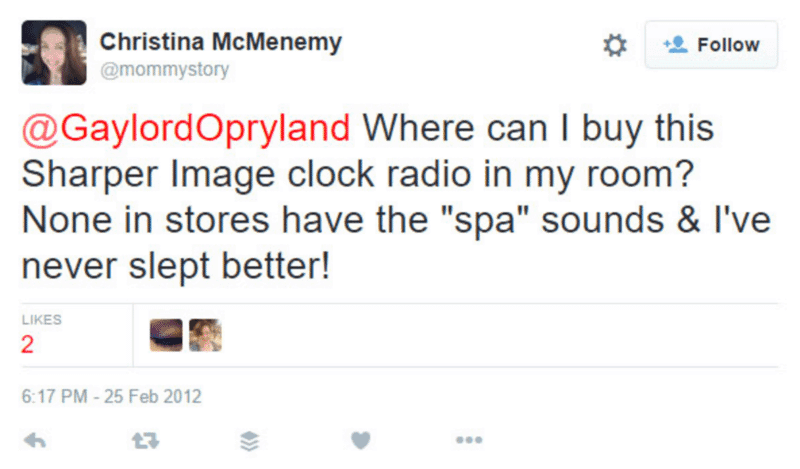 Clock radio presents from Gaylord Opryland