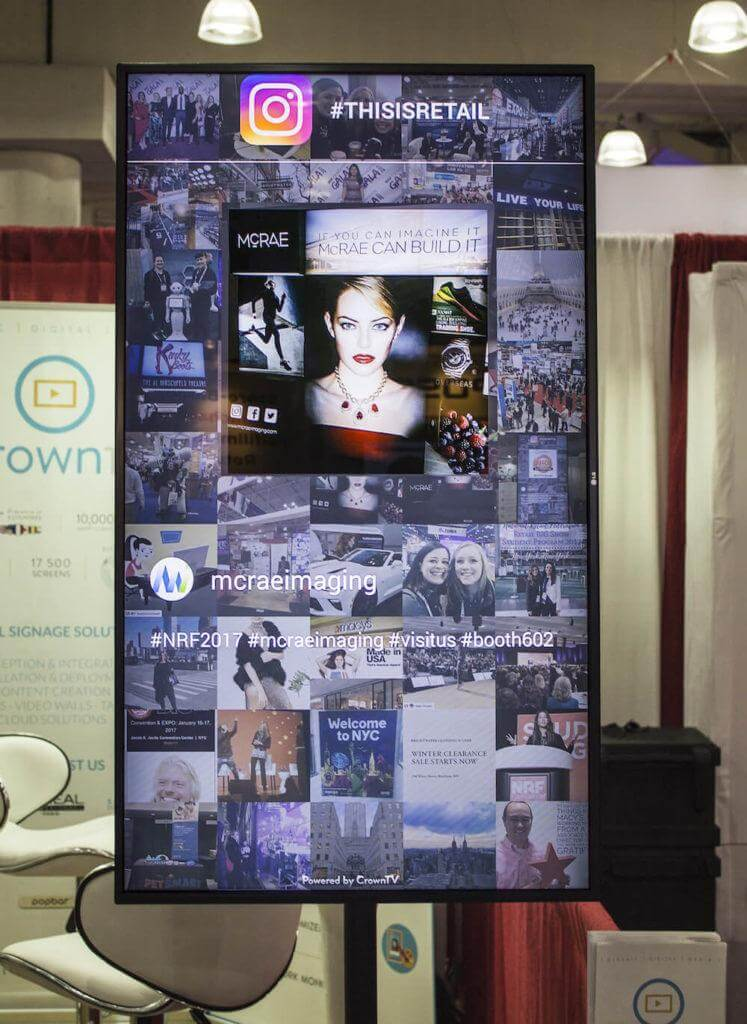Social media wall showing #thisisretail content from Instagram