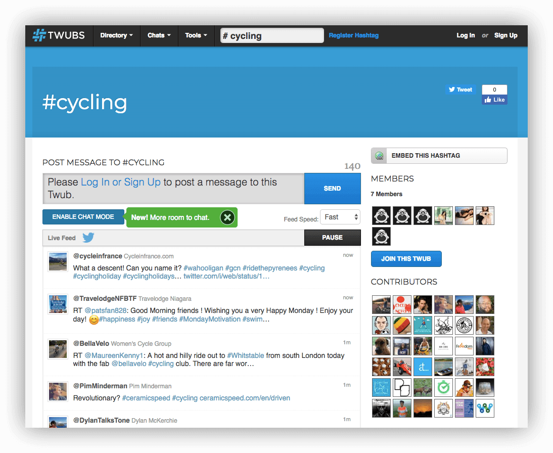 A screenshot showing Twubs, another hashtag monitoring tool