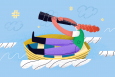 An illustration showing a women on a boat looking into the sky at a hashtag