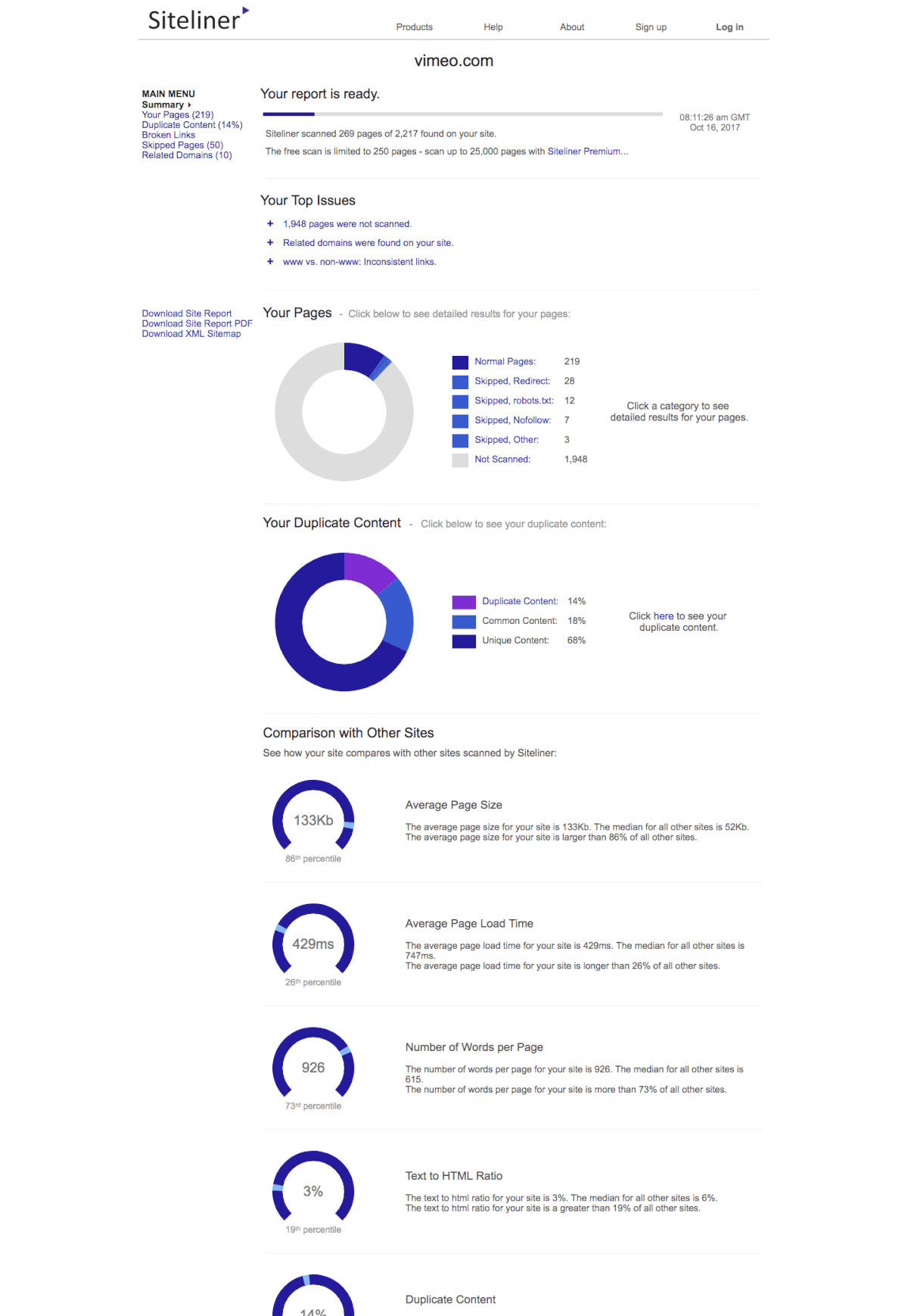 dashboard of Siteliner, competitor analysis tool