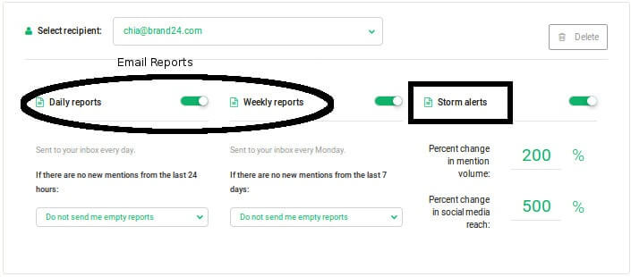 customize your storm alerts (if available in your social media monitoring tool)
