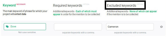 Use excluded keywords (if available in your social media monitoring tool)