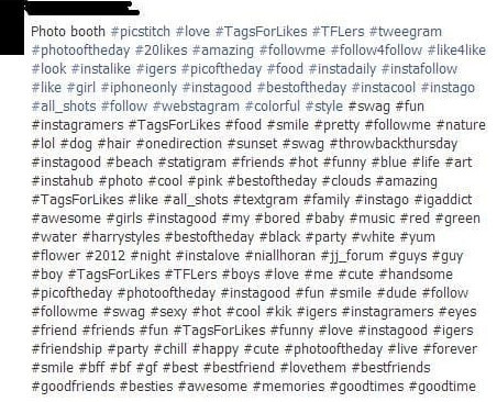 Don't use too many hashtags in one post