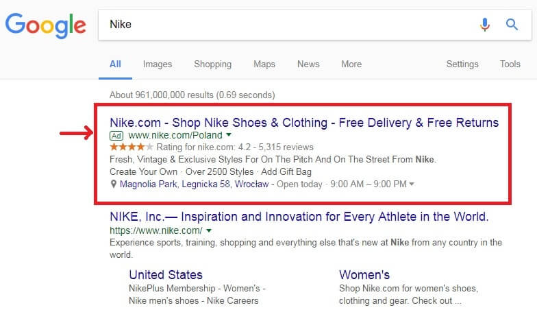 Google's search advertising display for Nike