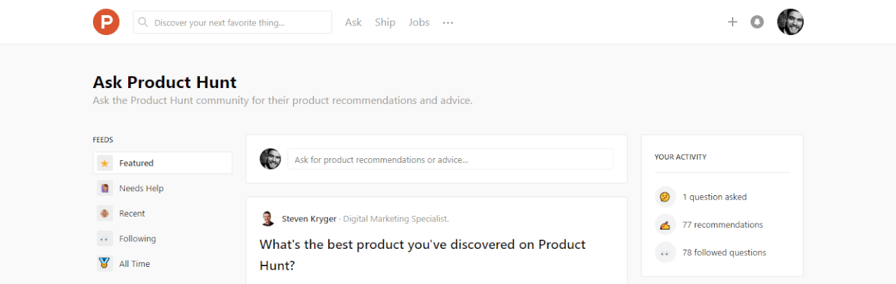 An image presenting the homepage of Ask Product Hunt.