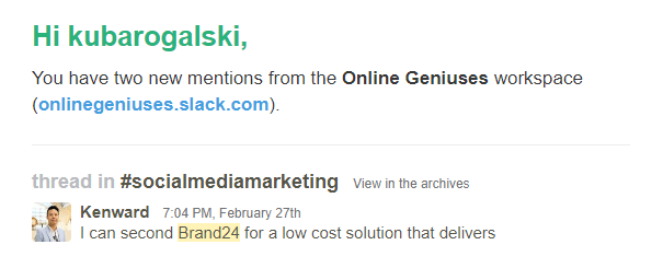Second email notification of a keyword mention.