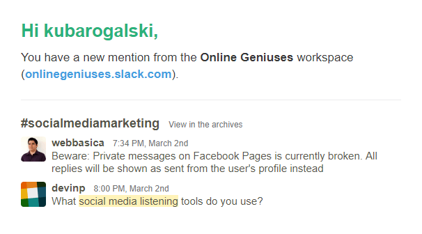 First email notification of a keyword mention.