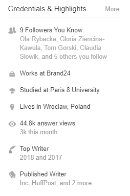 Credentials & Highlights section of a quality Quora profile page.