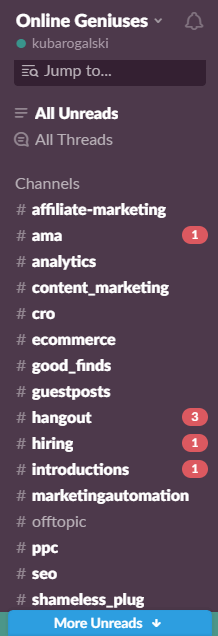 An image presenting a list of Slack channels.