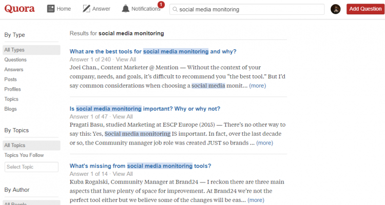 Search results for a keyword 'social media monitoring' on Quora.