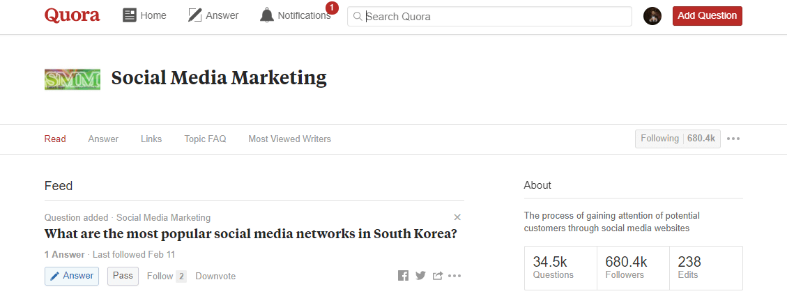 A social media marketing topic page on Quora.