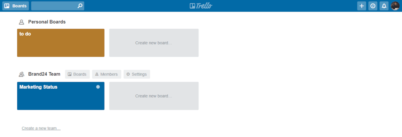 An image presenting a set of boards in Trello.