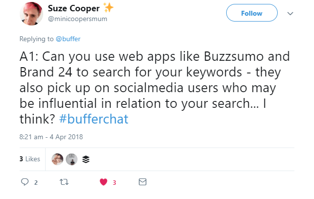 An example of a Tweet mentioning a mistyped keyword.