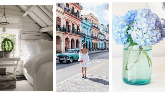 three images from pinterest home decor girl in front of colourful buildings and blue hydrangea