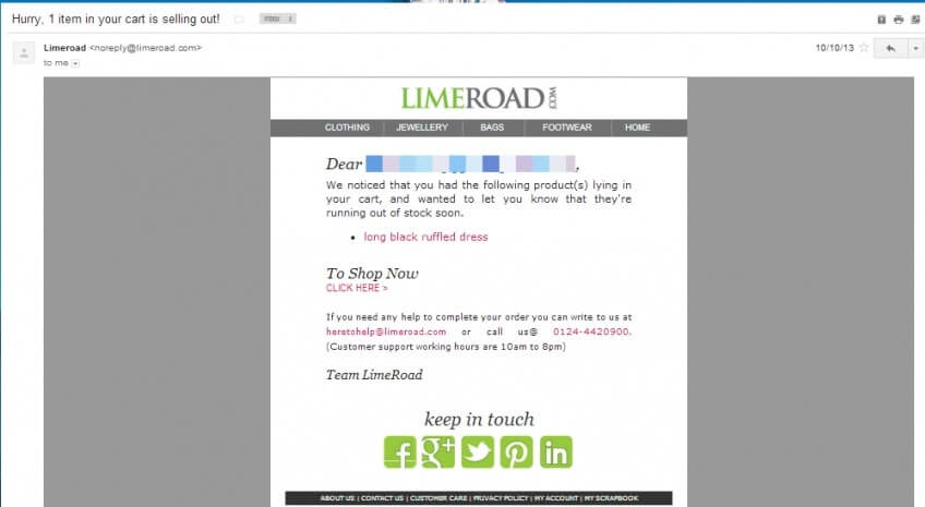 personalized e-mail example from LimeRoad
