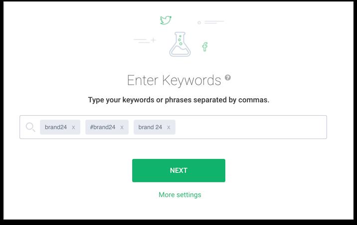 print screen of brand24 dashboard with chosen keywords