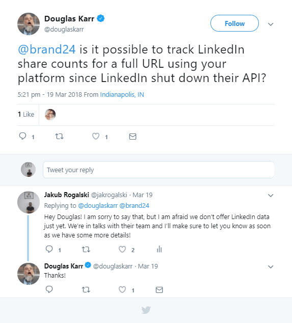 An example of a customer question on Twitter.