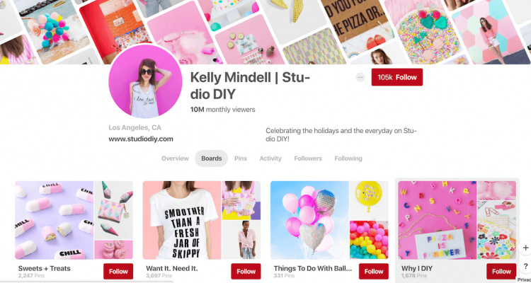 Screen shot of pinterest boards of kelly mindell