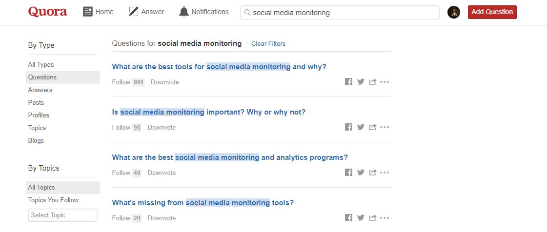 Results for social media monitoring keyword on Quora