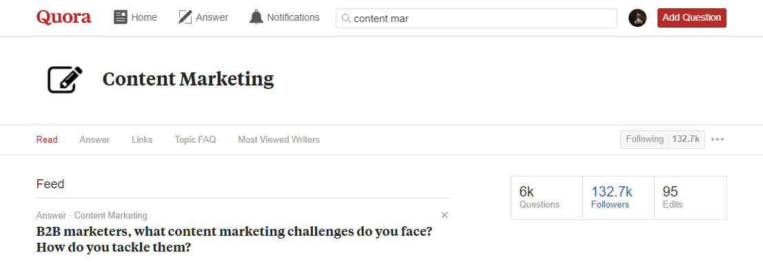 header of a content marketing topic on quora