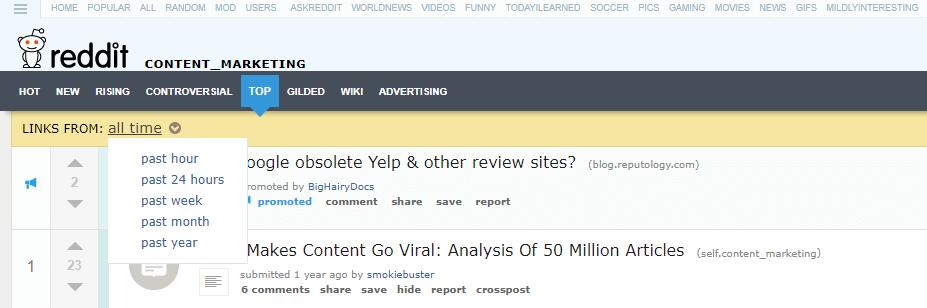 Header of a subreddit