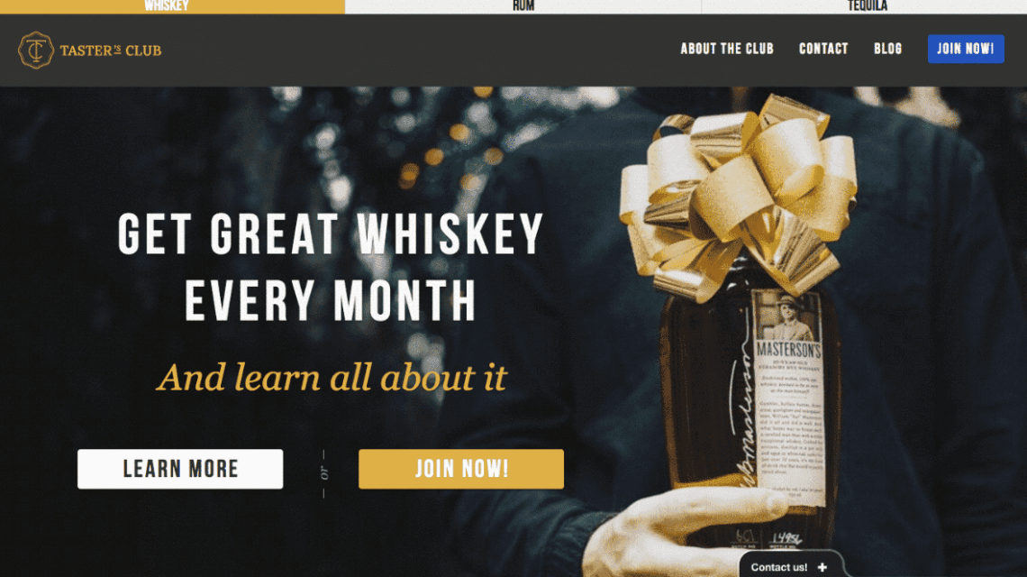 a print screen of a landing page of whisky subscription