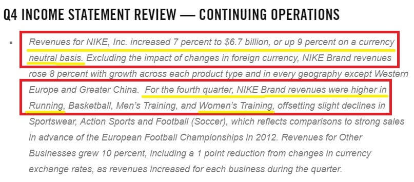 Excerpt from Nike's earnings report verifying 9% revenue increase and boosted sales in running and women's sports
