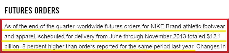 Excerpt from Nike's earnings report verifying 8% increase in Nike's futures orders