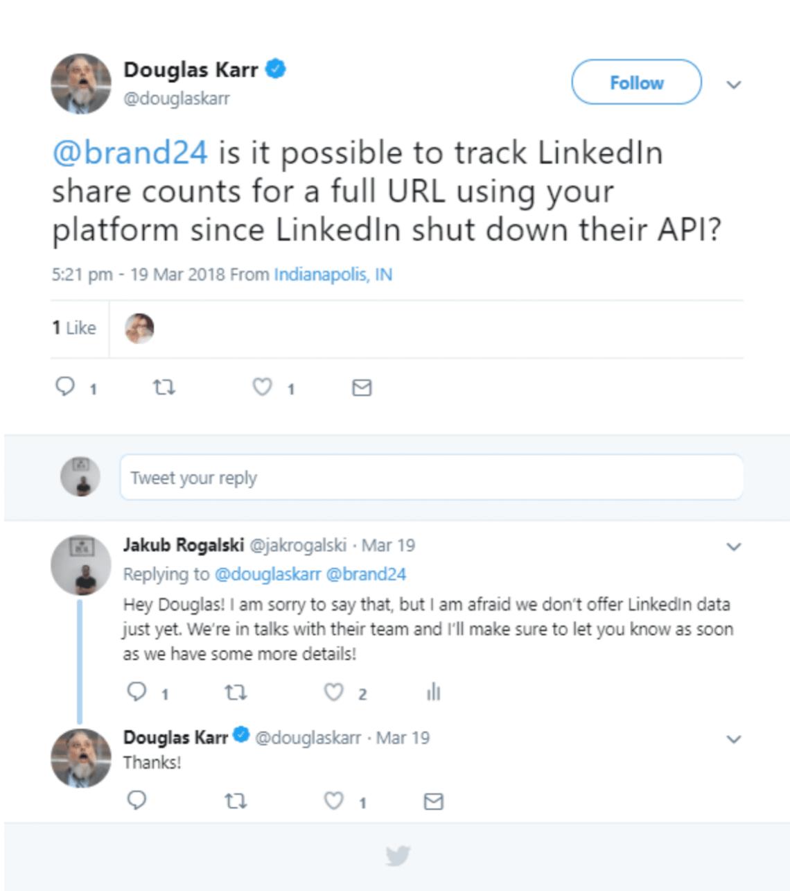 screen shot of twitter interaction