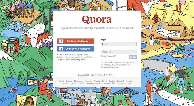 print screen of main page of Quora, social media platform for discovering new customers
